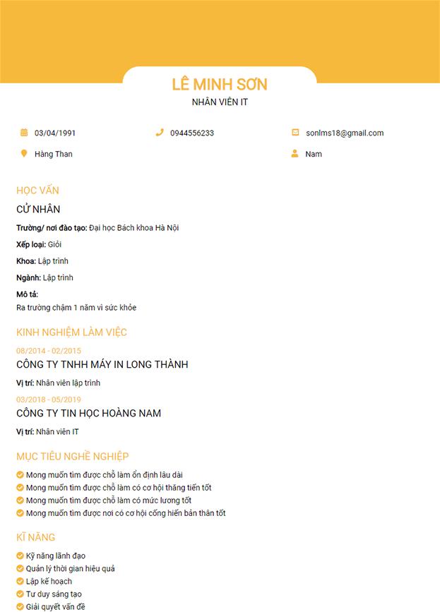 CV mẫu 9